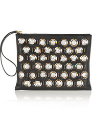 Marni Crystal-embellished leather clutch