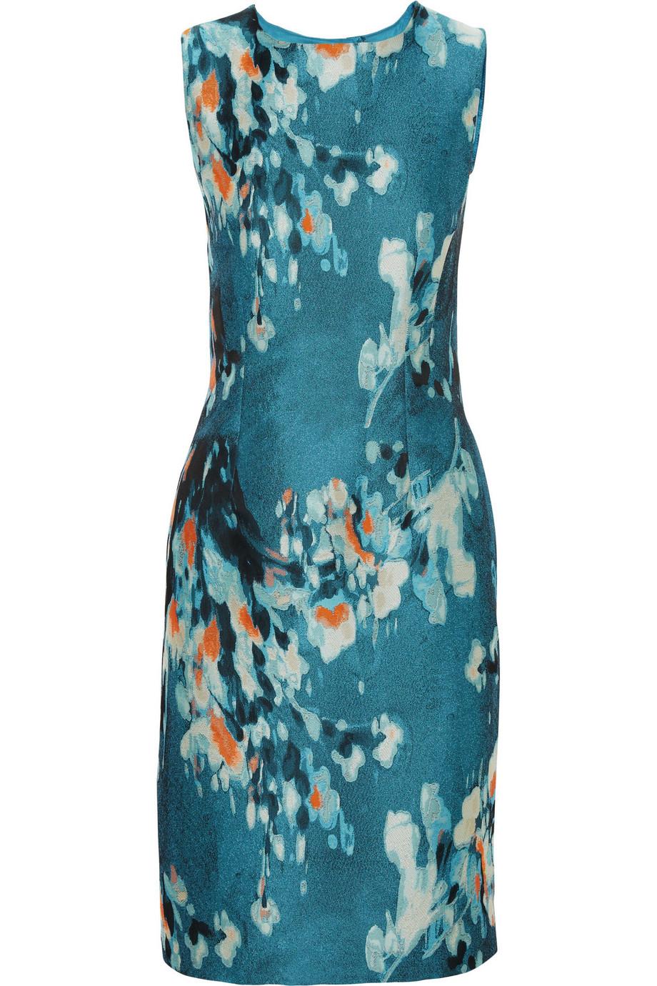 Floral-Jacquard Pencil Dress, Size: 40