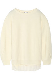 PHILOSOPHY Chiffon-paneled wool sweater