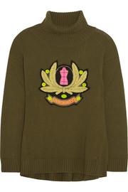 Moschino Cheap and Chic Embroidered wool turtleneck sweater