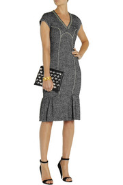 Moschino Cheap and Chic Embroidered wool-blend tweed dress