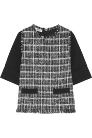 Moschino Cheap and Chic Wool crepe-paneled bouclé-tweed top