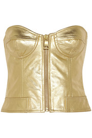 Metallic leather bustier