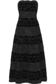 Strapless devoré-velvet and lace midi dress