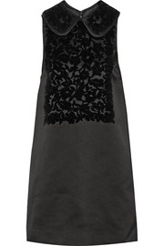 Dolce & Gabbana Velvet-flocked duchesse-satin mini dress