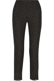 Cropped lace and stretch-silk slim-leg pants