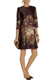 Dolce & Gabbana Printed silk and wool-blend mini dress