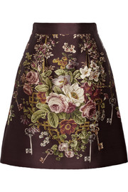 Dolce & Gabbana Printed silk and wool-blend skirt