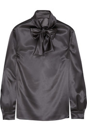 Dolce & Gabbana Pussy-bow stretch-silk satin blouse