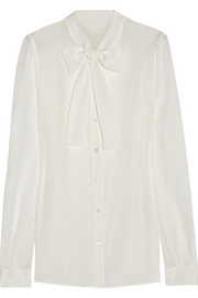 Dolce & Gabbana Pussy-bow washed-silk blouse