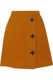 Dolce & Gabbana Embellished wrap-effect wool-blend skirt