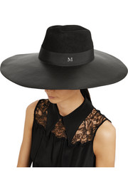 Maison Michel Fara grosgrain-trimmed leather and rabbit-felt hat