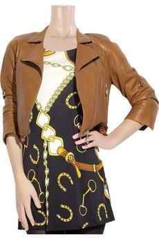 DomaAsymmetric-front leather jacket