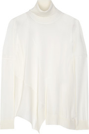 Stella McCartney Asymmetric wool and cashmere-blend turtleneck sweater