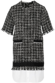 MSGM Poplin-hem bouclé-tweed dress