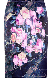 MSGM Floral-print satin pencil skirt