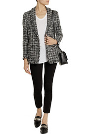 MSGM Frayed bouclé-tweed jacket