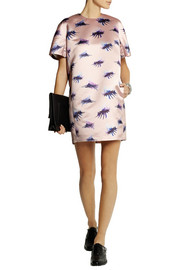MSGM Eyelash printed duchesse-satin mini dress