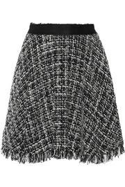Frayed bouclé-tweed skirt