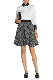 MSGM Frayed bouclé-tweed skirt