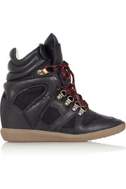 Isabel Marant Étoile Buck leather and suede wedge sneakers