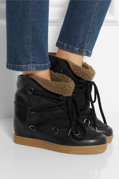 isabel marant nowles shearling lined leather concealed wedge boots net a porter com. Black Bedroom Furniture Sets. Home Design Ideas