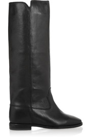 Isabel Marant Étoile Chess leather concealed wedge knee boots