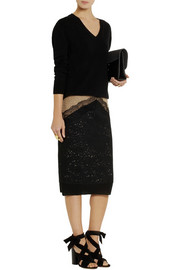 No. 21 Gina two-tone lace pencil skirt