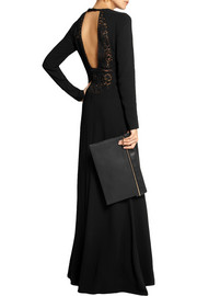 No. 21 Armele lace-paneled stretch-crepe gown