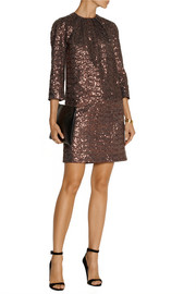 No. 21 Annalisa metallic sequined mini dress