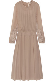 No. 21 Alberta lace-trimmed silk-georgette dress