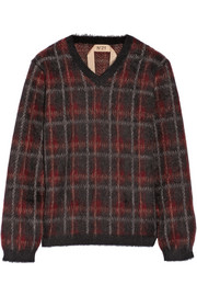 No. 21 Maglia plaid mohair-blend sweater