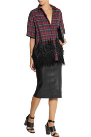 No. 21 Clara feather-trimmed plaid cotton-flannel shirt