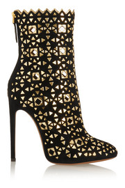 Embellished suede boots