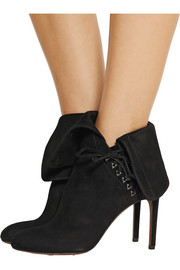 Alaïa Fold-over suede ankle boots