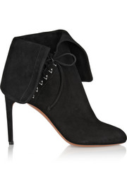 Fold-over suede ankle boots