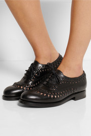 Cutout leather brogues