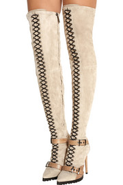Emilio Pucci Suede and ostrich thigh boots