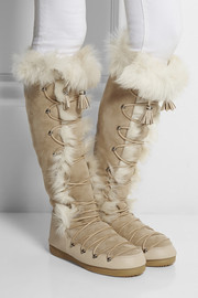Emilio Pucci Shearling-lined suede knee boots
