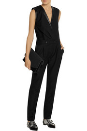 Karl Lagerfeld Emilia leather-trimmed wool-piqué jumpsuit