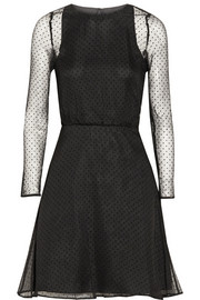Karl Lagerfeld Edita Swiss-dot silk-chiffon mini dress
