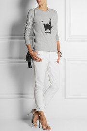 Karl Lagerfeld Elvira Rock On embellished cotton-jersey top