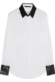 Karl Lagerfeld Emma faux leather-trimmed cotton-blend shirt