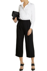 Karl Lagerfeld Emma pleated stretch cotton-blend shirt