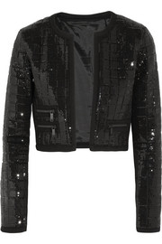 Harlow cropped quilted sequined jersey jacket