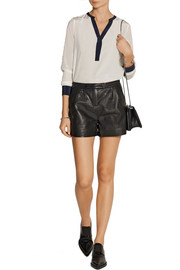 Karl Lagerfeld Eden mid-rise leather shorts