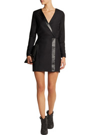Karl Lagerfeld Emilia leather-trimmed wool-piqué mini dress