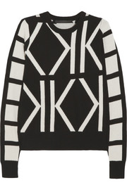 Karl Lagerfeld Estelle K-intarsia wool and cashmere-blend sweater