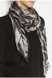 Matthew Williamson Ocelot Morris printed modal and cashmere-blend scarf