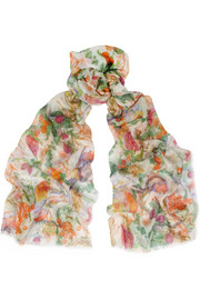 Matthew Williamson Rainbow Morris printed modal and cashmere-blend scarf